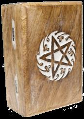 Boîte pentacle en bois sculptée (pour protéger un jeu de tarot ou un pendule)-0